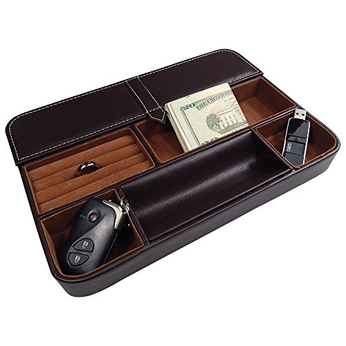 Profile Gifts Max 6 Compartment Valet Tray and Leatherette Organizer Box for Wallets, Coins, Keys, and Jewelry