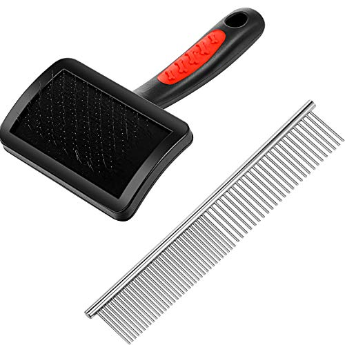 2 Pieces Grooming Slicker Brush Pet Grooming Brush Firm Slicker Brush Stainless Steel Pet Comb for Dogs and Cats
