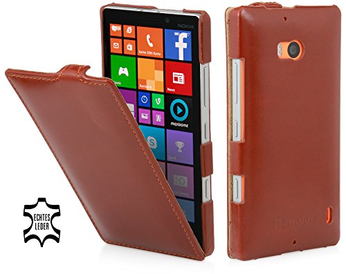 StilGut® UltraSlim, Genuine Leather Case for Nokia Lumia 930 & Lumia Icon (Verizon Wireless), Cognac Brown