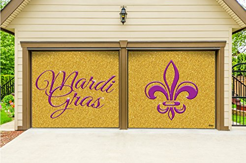 Victory Corps Outdoor Mardi Gras Decorations 2 Car Split Garage Door Banner Cover Mural - Mardi Gras Gold Glitter, Two 7'x 8' Graphic Kits - The Original Mardi Gras Supplies Garage Door Banner Decor]()