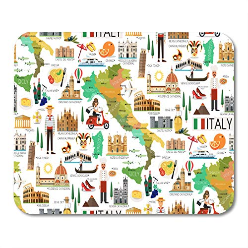 - Emvency Mouse Pads Sicily Map of Italy and Travel Wine Europe Florence Italian Cartoon Mouse pad 9.5
