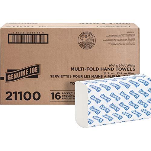 "Genuine Joe GJO21100 Multifold Towels, 9.5"" x 9.10"", pack of 16"