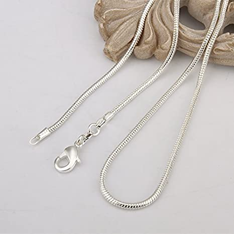 16-24 inch Duan 3pcs 925 Sterling Silver 2mm Snake Chain Necklace Jewelry Jewelry for Men and Women 16 inch