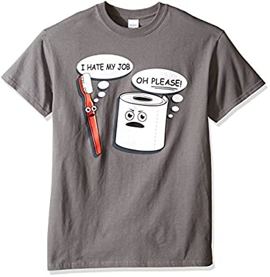 T-Line Men's Funny Shirt Hate My Job Toothbrush Graphic T-Shirt