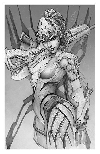 Widowmaker Giclee Print of pencil drawing of Defense Class character from Overwatch video game