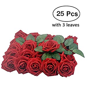 Enjoystore Artificial Flower Rose, 25pcs Real Looking Artificial Roses w/Stem for Bridal Wedding Bouquets Centerpieces Baby Shower DIY Party Home Décor, Dark Red with 3 Leaves 83