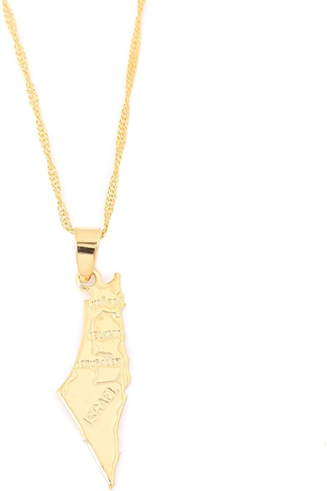 Jewish Jewelry Judaica Jewish Gift Map Israel Necklace Gold Holy Land Charm By TALYA JEWELRY DESIGN Hollow Map of Israel Pendant