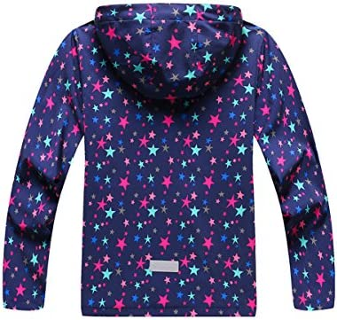 M2C Girls Hooded Outdoor Softshell Stars Pattern Windproof Active Jackets with Composite Mesh
