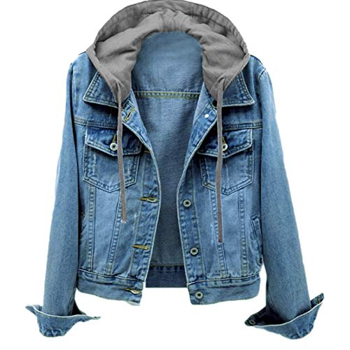 Armfre Tops Women's Denim Trucker Jackets with Detachable Hoodie Roll up Sleeve Button up Lapel Collar Jean Coat Pockets Stretch Classic Jacket Outerwear 2X