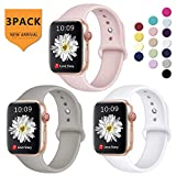 Laffav Compatible with iWatch Band 38mm 40mm for Women Men, Silicone Sport Replacement Band Compatible with Apple Watch Series 3, Series 4, Series 2, Series 1, White, Pink Sand, Gray, Medium/Large