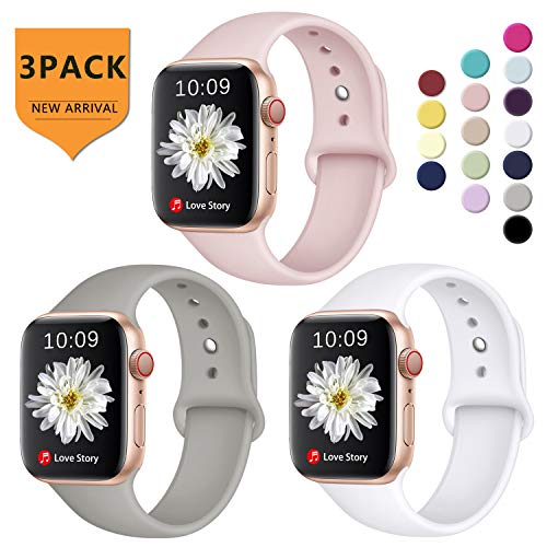 DGege Compatible with iWatch Band 38mm 40mm for Women Men, Small/Medium, Silicone Sport Replacement Band Compatible with Apple Watch Series 3, Series 4, Series 2, Series 1, White, Pink, Gray