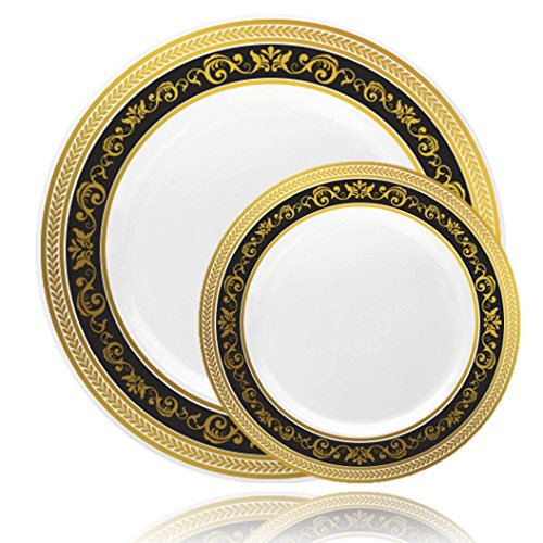 ... Gold/Black Plastic Plates(Includes 4 Packs of 10 Plates 20 10.25\u0027\u0027 Dinner Plates and 20 7.25\u0027\u0027 Salad Plates) Fancy Disposable Dinnerware  sc 1 st  Amazon.com & Black and Gold Plastic Party Plates: Amazon.com