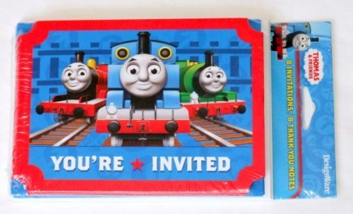 Thomas The Tank Invitations Birthday (Thomas and Friends Invitations and Thank You Notes w/ Envelopes (8ct ea))