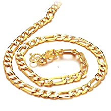 """Men'S Sterling 18K Gold Plated Anti-Allergy Necklace Bold Polished Style """"O"""" Line Chain Color Fading Proof Length 20 Inch Width 6Mm"""