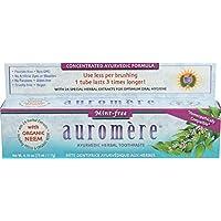 Pasta de dientes a base de hierbas ayurvédicas sin menta Auromere - Sin fluoruro, natural, con Neem y Vegan - 4.16 oz