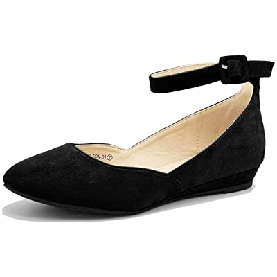 The Right Pair Women's Suede Ankle Strap Buckle Flats Almond Toe Ballet Shoes Slip On Casual Dress Sandals HT01 | Flats