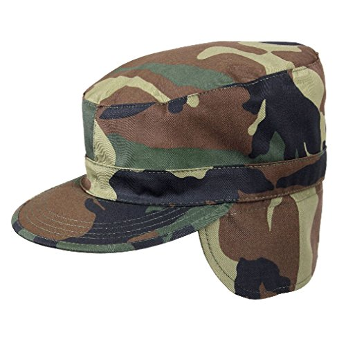 (Camo Tactical Winter Hat with Ear Flaps Fitted Military Warm Patrol Fatigue Cap)