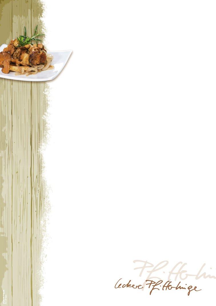 50 Blatt DIN A4 DP885 Pfifferling Vordruck Men/ükarte Schreibpapier 90 g//m/² Gutschein Einladung Speisekarte Briefpapier Pfifferlingzeit Gastronomie