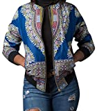 SHOWNO-Women Classic Africa Print Dashiki Zip up Pockets Short Jacket Coat Outerwear Light Blue M