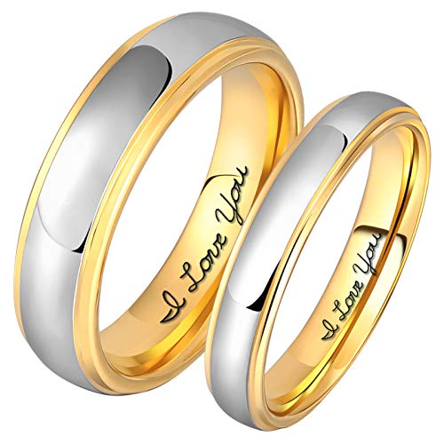 - Aeici 4mm Tungsten Ring Dome Wedding Band Silver Gold Promise Ring Size 8