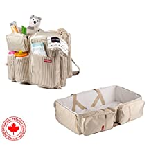 3 in 1 Travel Diaper Bag - Bassinet, Change Station, Portable Crib, Bed, Cot with bonus Stroller Straps. Includes Insulated Pockets and Bottle holders! High quality materials, Boy Girl Carry Cot