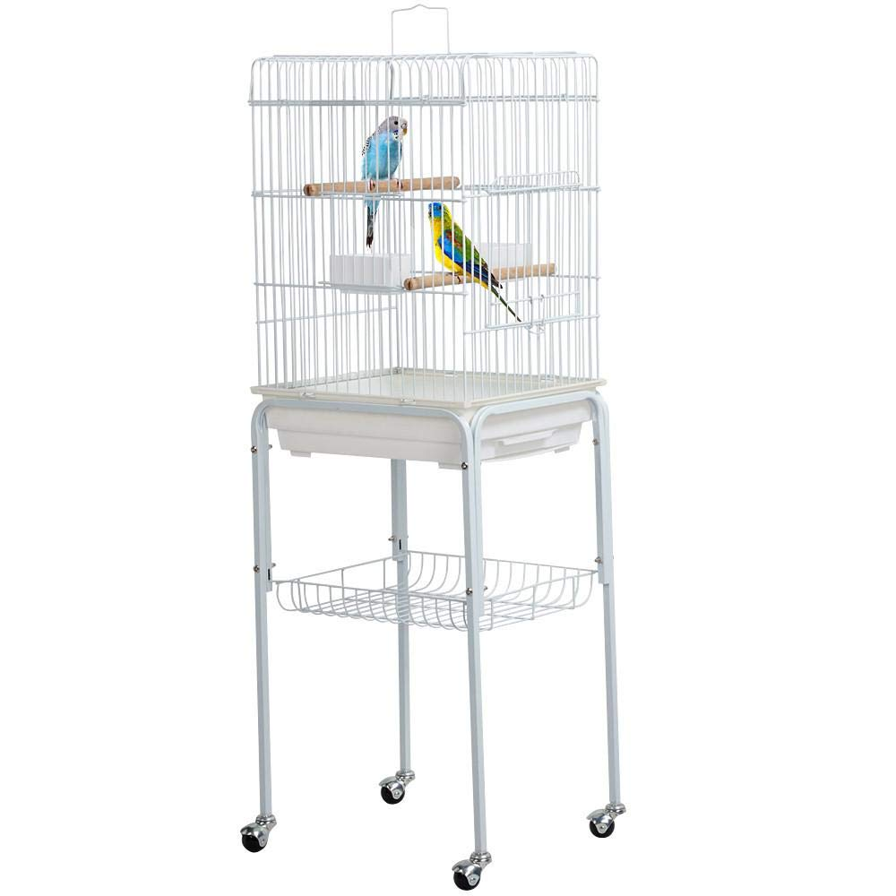 Yaheetech 46.5'' Metal Rolling Bird Cage Parakeet Finch Budgie Conure Lovebird Pet Bird Cage w/Storage Shelf/Bottom Tray/Handle, White