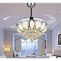 Luxury Modern Crystal Chandelier Ceiling Fan Lamp Folding Ceiling Fans With Lights Chrome Ceiling Fan With Light Dining Room Decorative with Remote Control (Support Dimming)