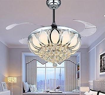 Luxury Modern Crystal Chandelier Ceiling Fan Lamp Folding Fans With Lights Chrome