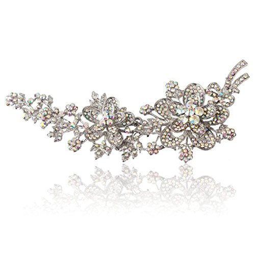 - EVER FAITH Austrian Crystal 5.7 Inch Flower Leaf Vine Long Brooch Iridescent Clear AB Silver-Tone