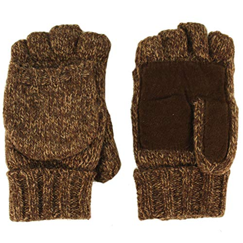Men's Thinsulate 3M Thick Wool Knitted Half Mitten Suede Palm Gloves S/M Brown
