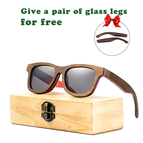 Wood Bamboo Sunglasses for Men or Women Polarized Lenses Wayfarer Style (brown, - Brown Black Or Sunglasses