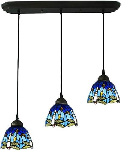 CCSUN Dragonfly Tiffany Style Pendant Lighting, Creative 3-Lights Ceiling Hanging Lamp E26 Glass Light Fixtures for Restaurant Hallway-Blue