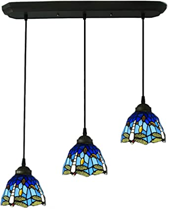 CCSUN Libélula Estilo Tiffany Iluminación Colgante, Creativo