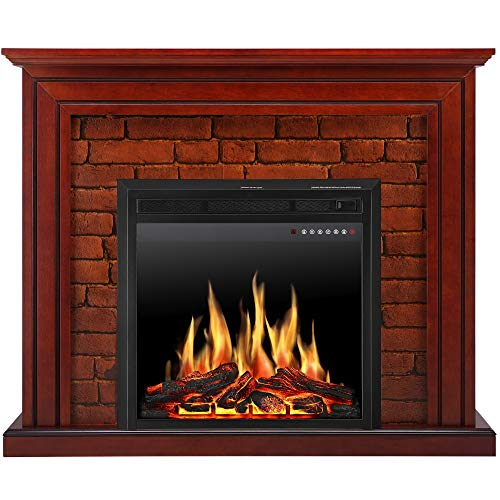 JAMFLY Electric Fireplace Mantel Package Traditional Brick Wall Design Heater with Remote Control and LED Touch Screen, Home Accent Furnishings, Standing Fireplace with Multicolor (Brick/Touch Screen)