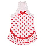 East Side Collection Polyester/Cotton Queen of Hearts Dog Dress, XX-Small, 8-Inch, White, My Pet Supplies