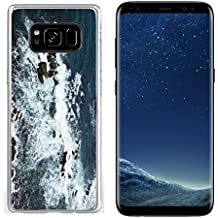 Luxlady Samsung Galaxy S8 Clear case Soft TPU Rubber Silicone IMAGE ID: 34355569 Waves rocks stones on the Ocean from above View from lighthouse Matara Ceylon Sri Lanka