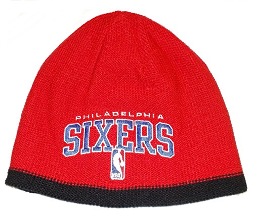 Knit Reversible Adidas - NBA adidas Philadelphia 76ers Authentic Team Reversible Knit Beanie - Red/Black