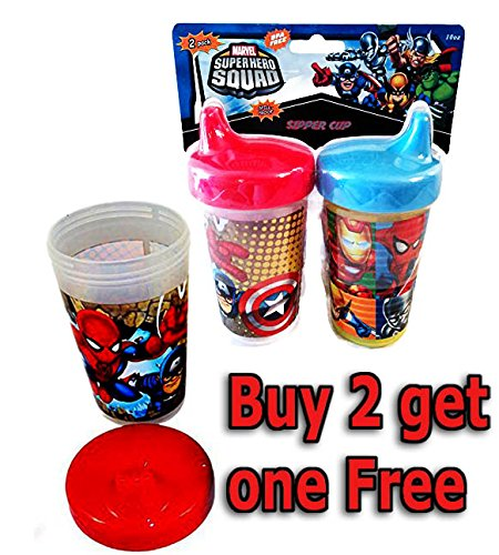 Captain America and the Avengers Super Hero Squad 10oz Sipper Sippy Cup - Buy Two get One FREE! (Super Heroes Avengers)