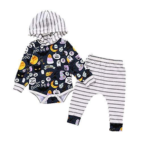 Halloween Baby Boys Girls Outfits Cartoon Graffiti Print Long Sleeve Hooded Striped Romper Pants Set -