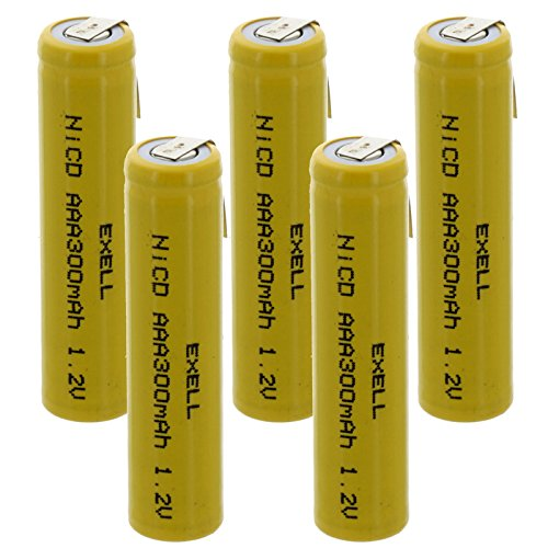 - 5x Exell AAA 1.2V 300mAh NiCD Rechargeable Batteries with Tabs for meters, radios, hybrid automobiles, high power static applications (Telecoms, UPS and Smart grid), radio controlled devices