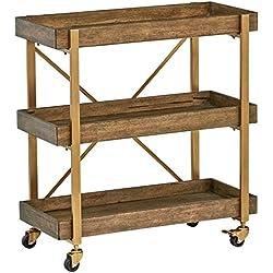 "Rivet 3-Tiered Rustic Metallic Rolling Wood and Metal Bar Cart, 29.9"" W, Natural"