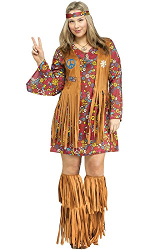 Fun World Women's Peace Love Hippie Costume, Brown, Plus - Hippy Costume
