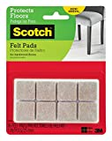 Scotch Felt Pads, Square, Beige, 1 in. x 1 in, 16 Pads/Pack, 6-Packs (96 Total)