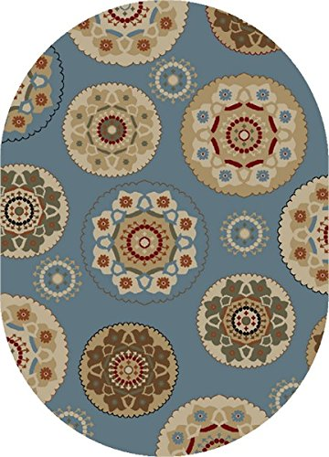 (Mayberry Rugs TL3656 5X8OV TIMELES Timeless Deco Pinwheel Area Rug, 5' x 8', Oval Blue)