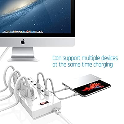 Stalion Surge Protector Power Strip Socket 900 Joule with 6-USB Charging Ports & 6-Outlets Universal for Home & Office (6-Foot Cord-White) from Stalion