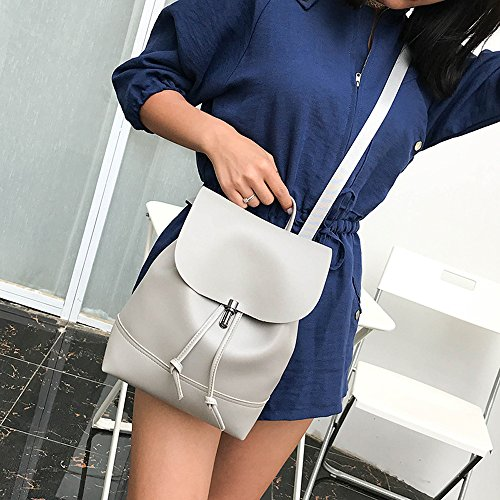 for Satchel DEELIN Bag Pure School Clearance Girls Shoulder Womens Bookbags Teenagers Backpack Preppy Gray Vintage Travel Women Leather Color qqZYwr