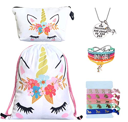 Unicorn Gifts for Girls - Unicorn Drawstring Backpack/Makeup Bag/Bracelet/Inspirational Necklace/Hair Ties (White Flower) from Doctor Unicorn