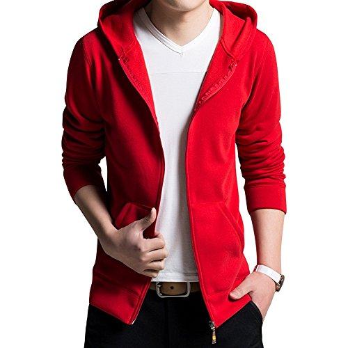 Price comparison product image LETSQK Men's Long Sleeves Solid Full-zip Fleece Pullover Hoodie Sweatshirt Red XL