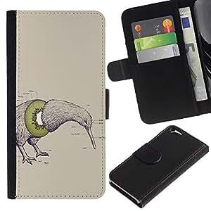 """Apple (4.7 inches!!!) iPhone 6 , la tarjeta de Crédito Slots PU Funda de cuero Monedero caso cubierta de piel ("""" Kiwi Bird Fruit Art Drawing Pencil Word Green"""")"""
