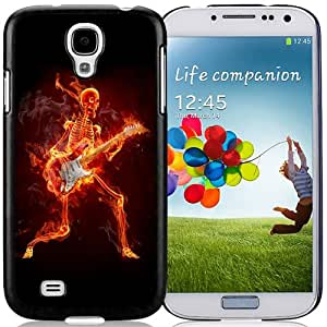 NEW DIY Unique Designed Samsung Galaxy S4 I9500 Phone Case For Burning Skeleton Playing The Guitar Phone Case Cover